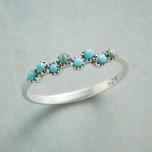 Sterling Silver & Genuine Turquoise Bubble Ring